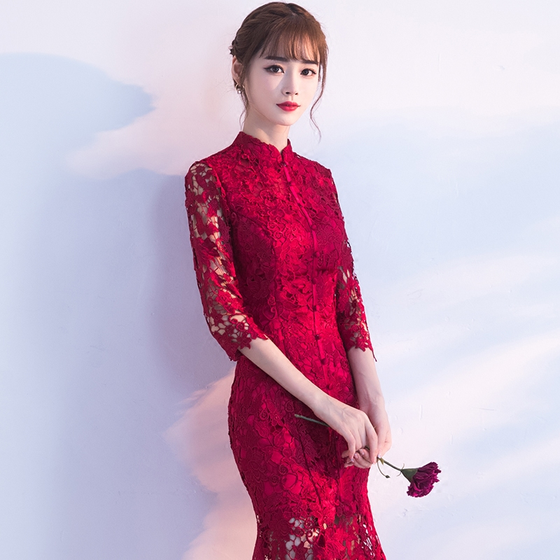 Spring-Evening-Party-Gowns-Qipao-Traditional-Chinese-Women-Wedding-Dress-Slim-Red-Lace-Half-Sleeve-Mandarin (2)
