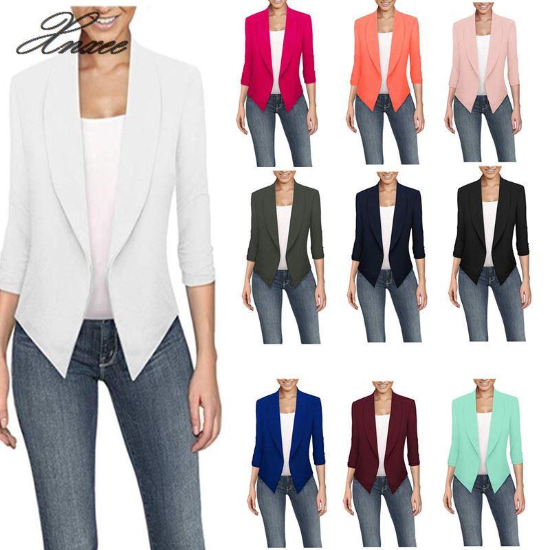 Women Jackets 3 4 Sleeve Blazer Open Front Short Cardigan Suit Jacket Work Office Coat Outwear blouson in Blazers from Women 39 s Clothing