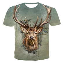 3D Printing Animal World Red Deer Men's Summer New T-Shirt Casual Loose Short Sleeve O-Neck Breathable Oversized Customization