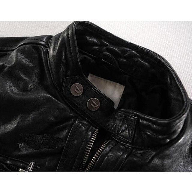 Men Leather Jacket Genuine Real Sheep Goat Skin Brand Black Male Bomber Motorcycle Biker Man's Coat Autumn Spring Clothes  zlg88 3