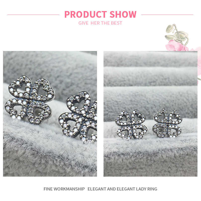 MISSITA 100% 2019 New Fashion Hollow Clover Earrings For Women Silver Jewelry Fashion Wedding Stud Earring HOT SELL Gift