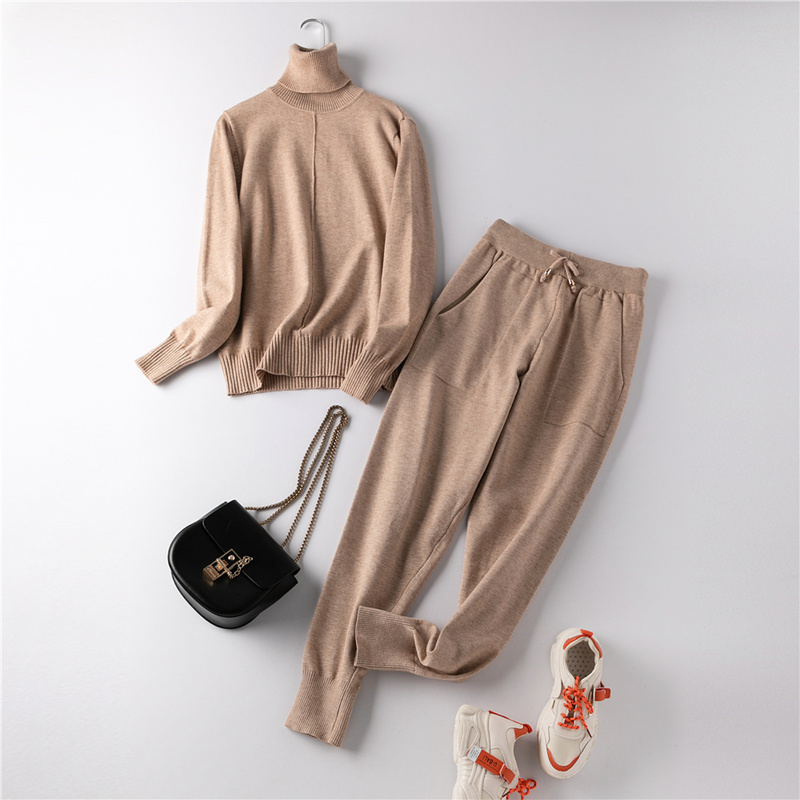 Women Knitted Tracksuit Turtleneck Sweater 2 Pieces Set Autumn Winter Pullovers Vertical Line And Elastic Feet Pants Suit Femme