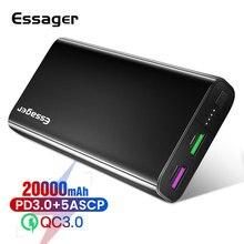Essager 20000 мАч Внешний аккумулятор USB C PD Быстрая зарядка 3,0 5A внешний аккумулятор для Xiaomi iPhone 20000 мАч портативное Внешнее зарядное устройство