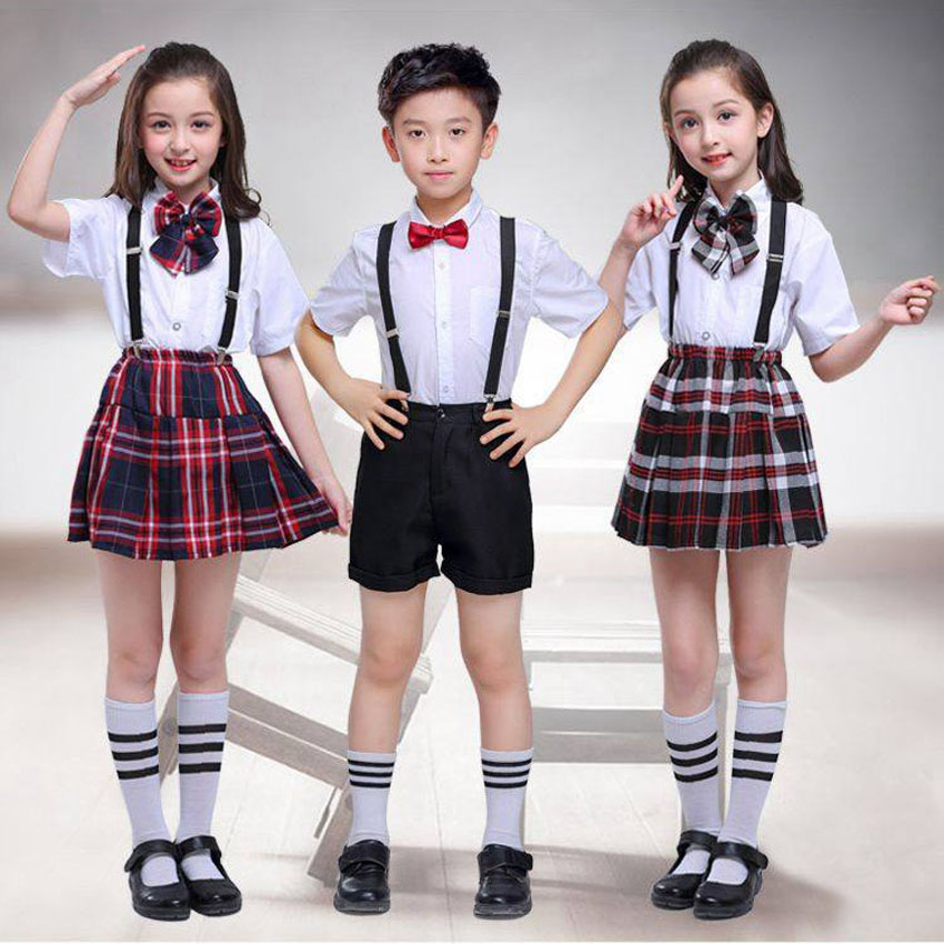 100-170cm Kids Clothing Set Tops+skirt+strap Teenager Girls Plaid Student School Uniform For Children Boys Choir Costumes