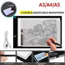 Tableta de dibujo A3/A4/A5 de 5V, almohadilla de luz Led, protección ocular de diamante, tablero de copia brillante, arte bordado diamante punto cruz Acrílico