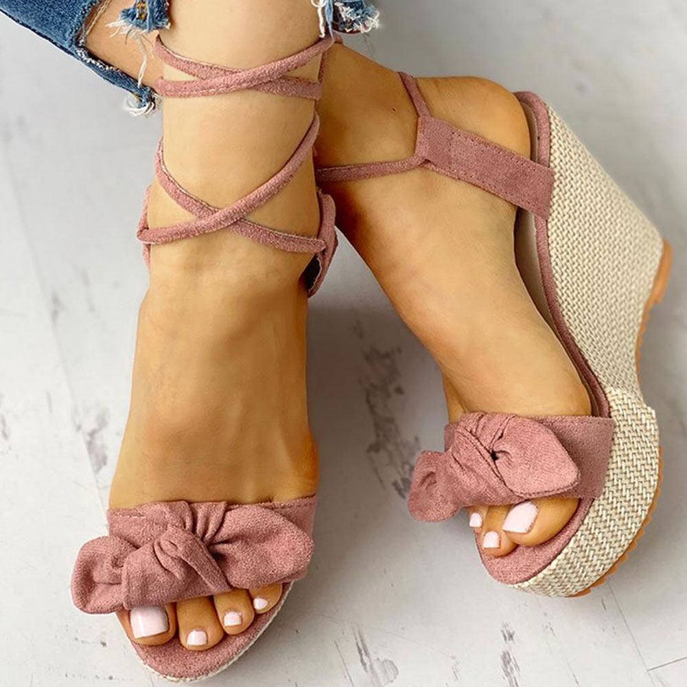 Karinluna New Wholesale Wedges Shoes High Heels Casual Platform Fashion Sweet Bow Summer Ankle-wrap Women Shoes Woman Sandals