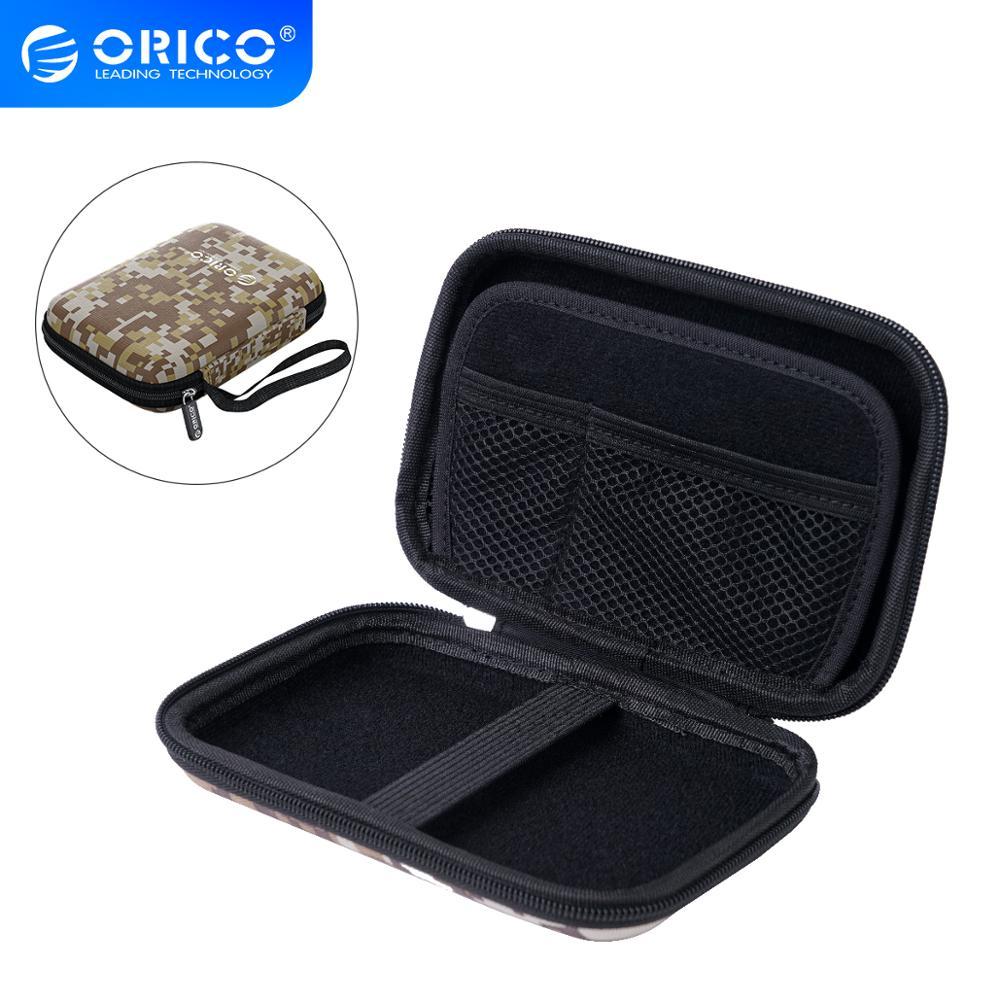 ORICO kutusu kutusu 2.5 inç sabit disk koruma çantası taşınabilir Mini boyutu HDD/SSD,USB kablosu, kulaklık, U disk
