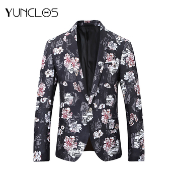 YUNCLOS  White Flower Men Suits Jackets Dinner Party Banquet Blazer Singer Stages Long Sleeve