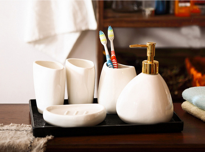 Set of 5 White Colors Ceramic Bathroom Accessory Set Washing Tools Water Bottle Mouthwash Cup Soap Dish Toothbrush Holder image