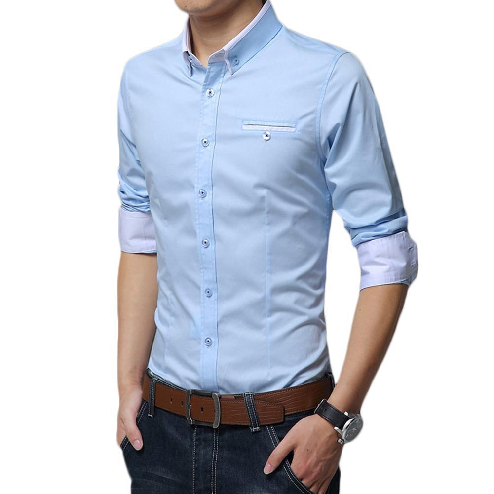 shirts Turn Down Collar Slim Office Shirt Top Fashion Men Solid Color Long Sleeve Outdoor Hiking T-shirts Breathable Sportswear