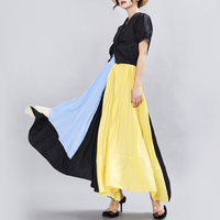 New Runway 2019 Pleated Skirts Color Patchwork Irregular Designer Maxi Long Party Skirts High Waist Elastic Lady's Aline Skirts