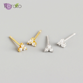 Simple Tiny 925 Sterling Silver Stud Earrings for Women Charming Crystal Gold Silver color  Minimalist Earrings Fashion Jewelry 925 sterling silver simple triangle crystal inlaid tassel stud earrings for women fashion creative jewelry accessories