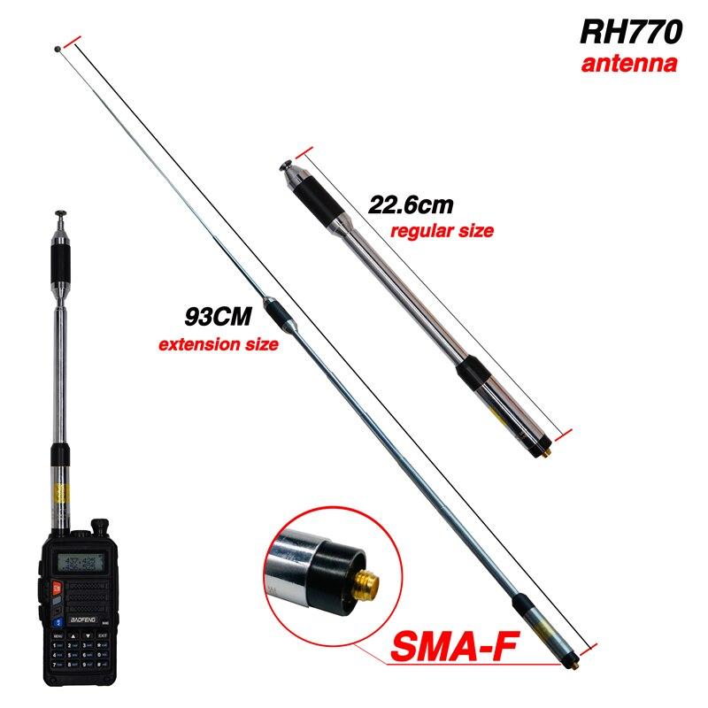 20W RH770 SMA-Female Telescopic Antenna Dual Band 144/430MHz High Gain RH-770 For BAOFENG UV-5R UV-82 BF-888S UV-9R PLus Radio