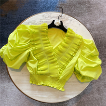 Women's Blouse 2020 Summer New Ruffles V-neck Elastic Waist Short Puff Sleeve Chiffon Shirt Ladies Crop Top Shirts Blusa Femme -