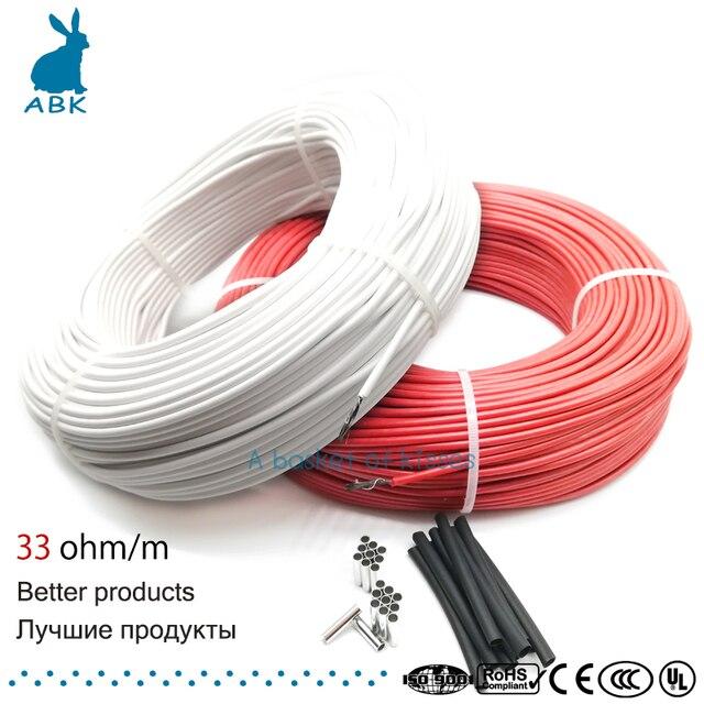 12K 33ohm углеродное волокно нагревательный кабель провод для обогрева пола электрическая Горячая линия Новый инфракрасный высокое качество н...