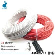 Cable de calefacción de fibra de carbono de 12K 33ohm, cable de calefacción de suelo, cable eléctrico de alta calidad, nuevo cable de calefacción infrarrojo
