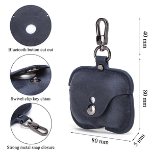 Image 5 - Genuine Leather Case For AirPods Pro coque Bluetooth Earphone Protective Cover Charging boite For Air pods 3 Pro Cases Keyring