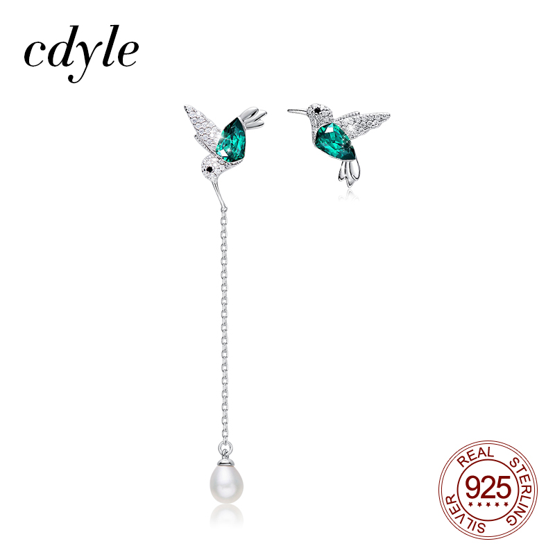 Cdyle 925 Sterling Silver Bird Earrings Embellished with Crystal Stud Earrings for Women Piercing Oreja(China)
