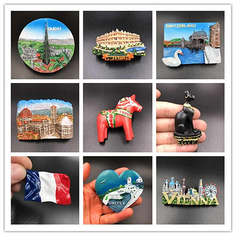Dropship 3d Fridge Magnet Sticker Creative Dubai Versailles Greece Vienna Tourist Souvenir Refrigerator Stickers Home Decoration