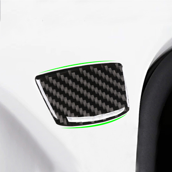 Car Styling Universal Carbon Fiber Side Door Window Middle-Pillar, Wheel Eyebrow, Rear Trunk Anti-Collision Cover Trim 6.5*4.5cm image