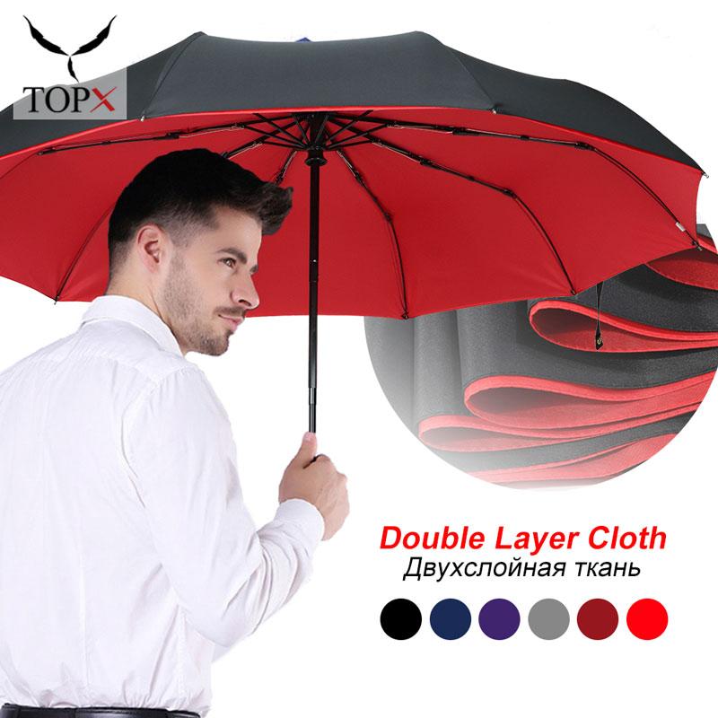 Windproof Automatic Double Umbrella Rain Women 3Fold Female Male 10 Bone Car Luxury Large Business Umbrellas Men Gift Parasol