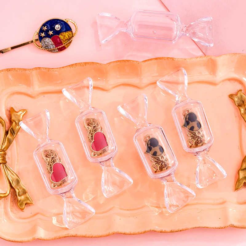 Cute Teen Girls Candy Shape Transparent MakeUp Storage Box Mini Portable Earrings Jewelry Bag Travel Cosmetic Case Organizer