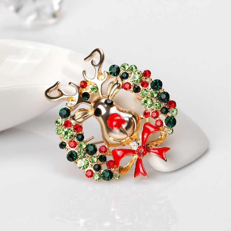 Yılbaşı hediyeleri güzel kırmızı ayakkabı çizme ağacı hayvan kadınlar için broşlar iğneler tam Rhinestones noel broş yeni yıl için