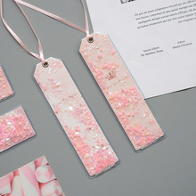 1 Pcs Cherry Blossoms Sakura PU Glitter Sequins Bookmark Stationery School Office Supply