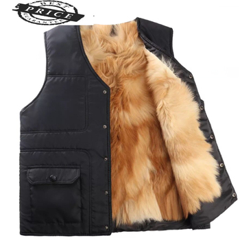 Fox vest Real Men's winter fur jackets Thicken keep warm new Cotton vest high quality plus-size winter coat 22448 image
