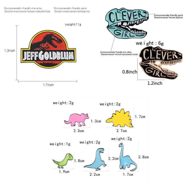 Elementos de dinosaurio Pines de solapa chica inteligente broches con dibujos animados simples coloridos insignias mochila esmalte pines joyería regalos para amigos
