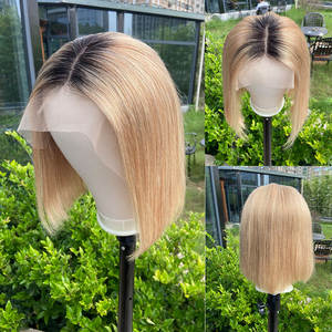 Closure Wig Highlight Human-Hair U-Part Lace-Front Brown Balayage 1B27 Pre-Plucked Colored