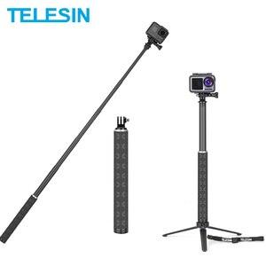 TELESIN 90cm Carbon Fiber Lightest Selfie Stick Aluminium Alloy Tripod For GoPro Hero 5 6 7 8 For DJI Osmo Action Camera Ac