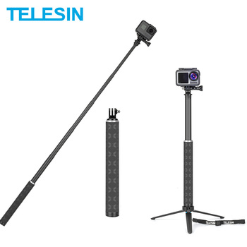 TELESIN 90cm Carbon Fiber Lightest Selfie Stick Aluminium Alloy Tripod For GoPro Hero 9 5 6 7 8 For DJI Osmo Action Camera Ac