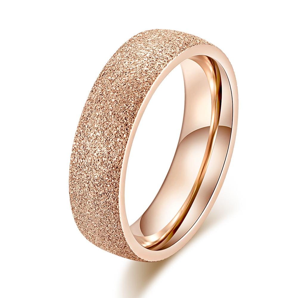 KNOCK Высокое качество модные простые скраб нержавеющая сталь женские кольца 2 мм ширина розовое золото цвет палец подарок для девушки ювелирные изделия - Цвет основного камня: 0000156