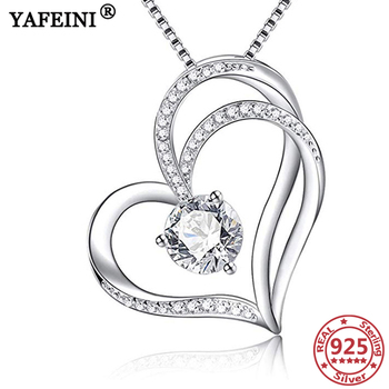 YAFEINI 925 Sterling Silver Heart Pendant Necklaces Cubic Zircon Trendy Woman's Jewelry Mother's Day Gifts Valentine's Day Gifts