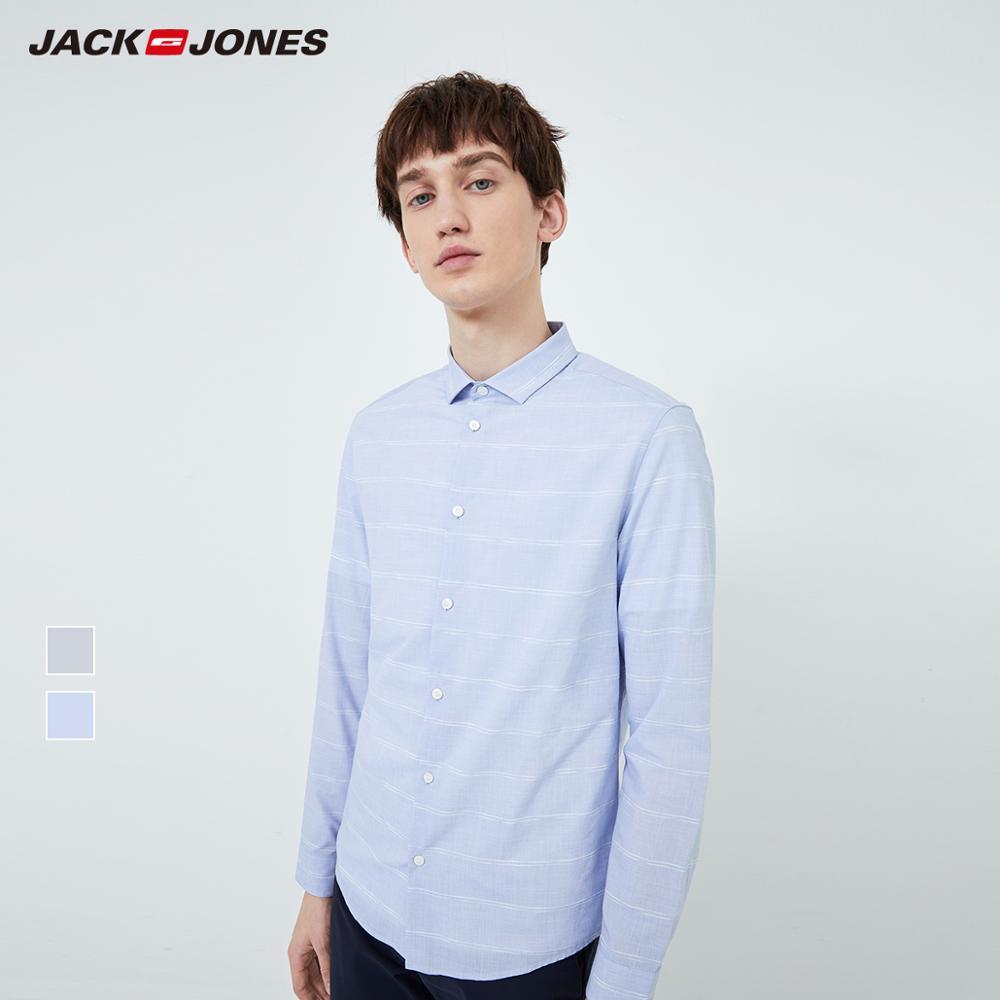 JackJones Men's Slim Fit Cotton Business Casual Turn-down Collar Striped Long-sleeved Shirt Menswear| 219305536