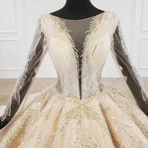 Image 4 - HTL1235 2020 งานแต่งงาน Boho แขนยาวภาพลวงตา V คอเลื่อมลูกปัดลูกไม้ UP sparkly งานแต่งงาน Robe de mariée bohème