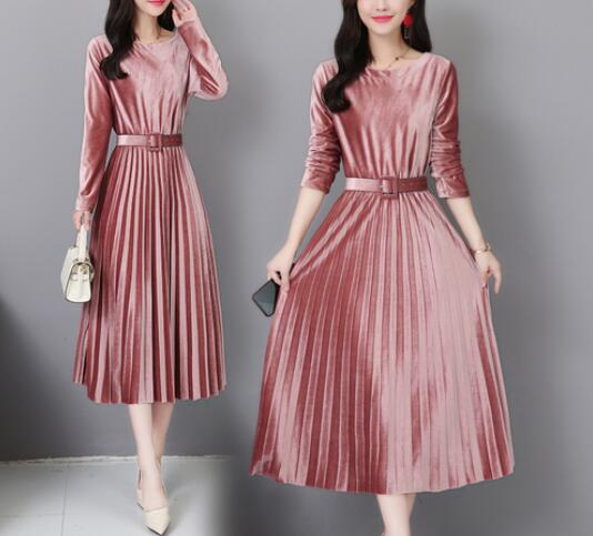 Fengguilai Autumn Winter Vintage Midi Dresses Korean Women Bodycon Velvet Dress Party O-Neck Pleated Ladies Dress With Belt