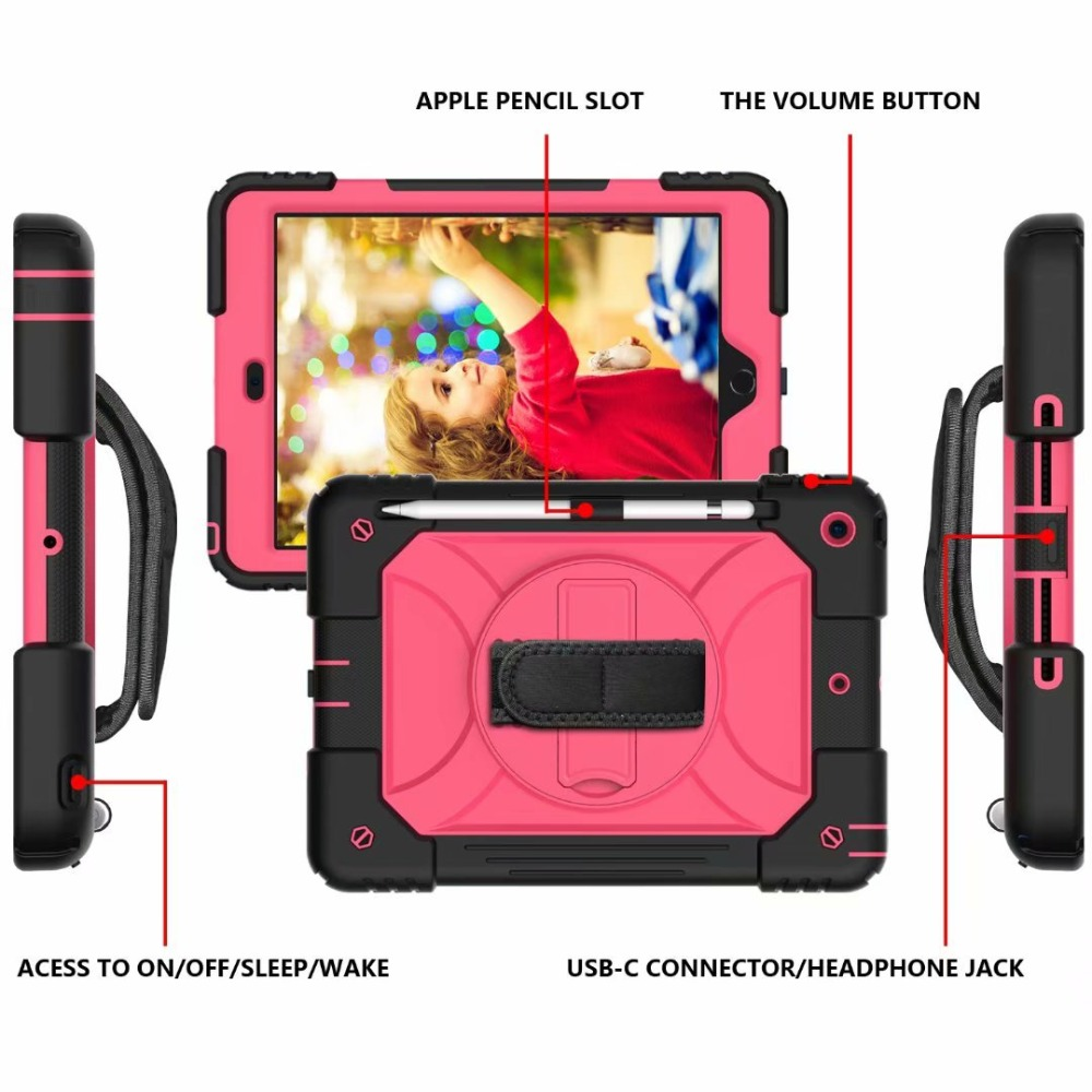 Rotating iPad 360 For Hand Cover Case iPad Stand Pencil 7th Strap For Generation Holder