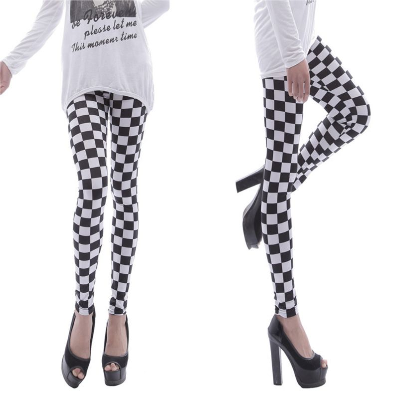 Womens Black White Checkered Plaid Printed Leggings Mid Rise Ankle Length Basic Skinny Casual Sports Pencil Pants