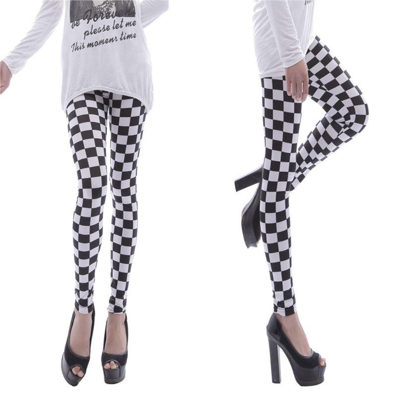Womens Black White Checkered Plaid Printed Leggings Mid Rise Ankle Length Basic Skinny Casual Sports Pencil Pants