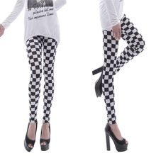 Printed Leggings Pencil-Pants Checkered Basic Plaid Skinny Black White Sports Casual