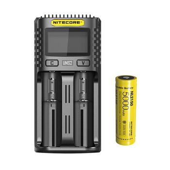 NITECORE UMS2 USB podwójna ładowarka inteligentna ładowarka baterii + akumulator litowo-jonowy NITECORE 21700 NL2150 5000mAh 3 6V 18Wh tanie i dobre opinie CCC CE RoHS battery charger