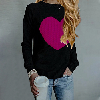 Oversize Tricot Ribbed Sweater Cute Heart Knitted Sweater And Pullovers O-neck Long Sleeve Women Sweaters Casual Tops Pull Femme women oversized sweater and pullovers oneck sweet heart letters printed pull jumpers long sleeve pink streetwear knit tops