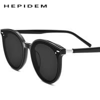 HEPIDEM Acetate Sunglasses Men Fashion Brand Designer Retro Circle Sun Glass for Women Vintage Round Mirrored UV400 Shades East