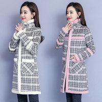 MUMUZI Faux fur Lamb clothing female 2019 new plus velvet thickening long style plaid winter coats thermal parkas female