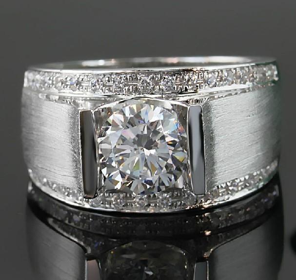 Test Positive Male Ring Sandblast 14K White Gold 1Ct Men Jewelry Moissanite Diamond Ring for Man Gold Jewelry Engagement Ring