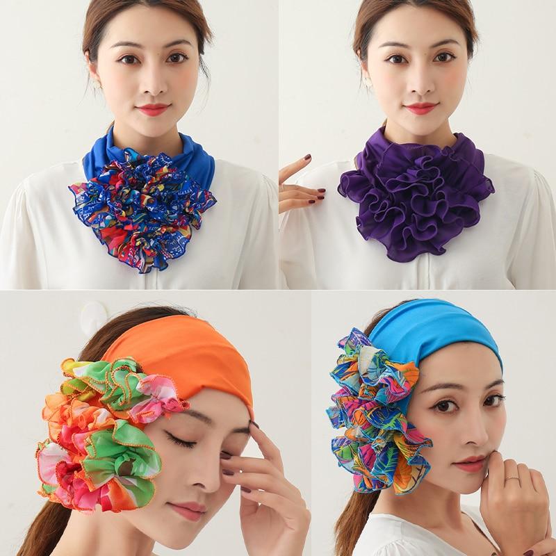 Floral Neck Ring Scarf Chiffon Collar Tie Women Muslim Hijab Hat Indian Turban Solid Lady Office Neckerchief Skinny Hair Scarves