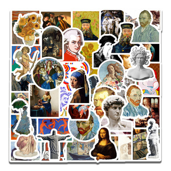 50Pcs Famous Artists Oil Painting Mona Lisa Stickers For DIY Laptop Scrapbooking Graffiti Diary Label Stationery Decor Sticker - discount item  22% OFF Stationery Sticker
