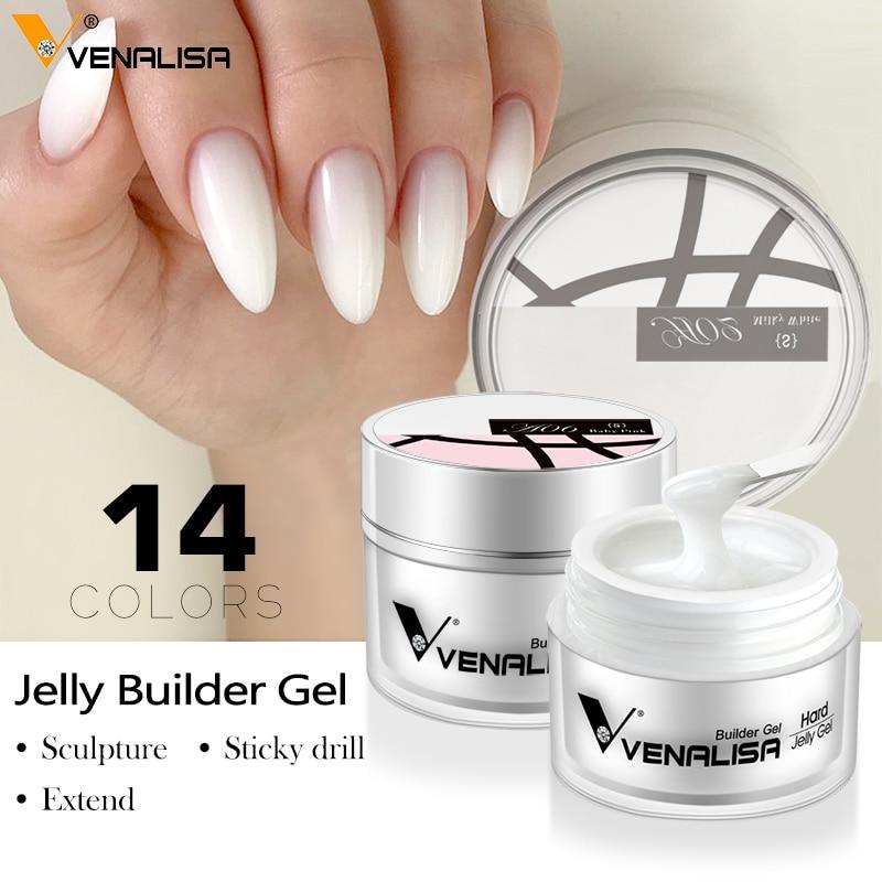 50ml hard jelly builder nail extension gel nail art french nail DIY gum Venalisa poly nail gel clear natural color fibreglass 1